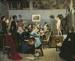 In the Studio. Academy Julian, Paris. by Marie Bashkirtseff, 1881.