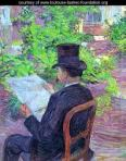 Side view of a man in dark 19th c. top hat and coat, seated in a garden, reading a newspaper.