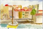 Watercolor of brightly colored houses and boat in a small port.
