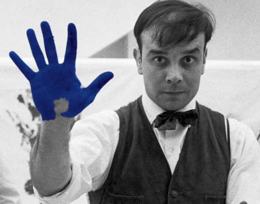 Yves Klein's hand is International Blue Klein